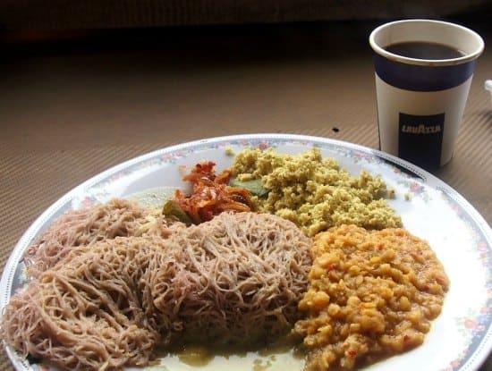 Sri Lankan breakfast food from a street stall at the roadside