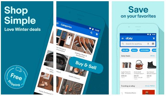 screenshot of ebay mobile app