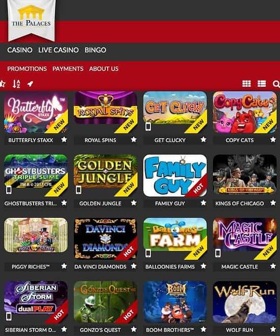 The Palaces Casino free spins bonus