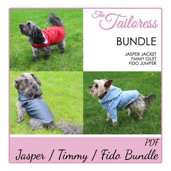 The Tailoress PDF Sewing Patterns - BUNDLE - Timmy Gilet Fido Jumper Jasper Jacket for Dogs PDF Sewing Pattern