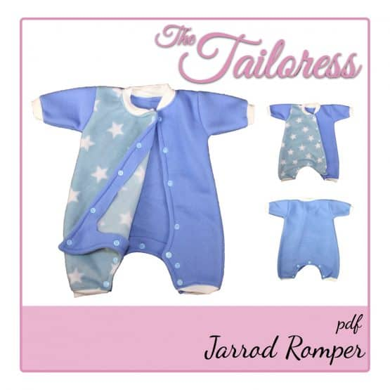 The Tailoress PDF Sewing Patterns - Jarrod Toys Dolls or Preemie Baby / Children Romper PDF Sewing Pattern 24-36 weeks
