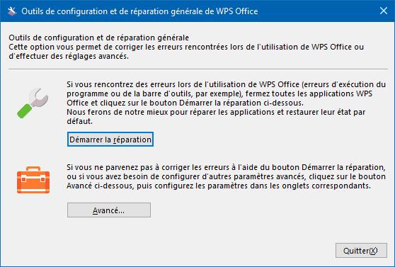 Outils de configuration et de réparation générale de WPS Office