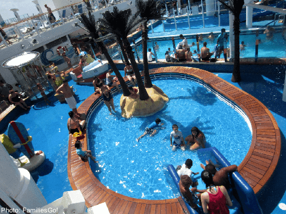 Kids pools on cruise ships will sometimes allow toddlers in swim diapers