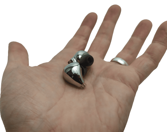 Image shows the earphones in the palm of my left hand.