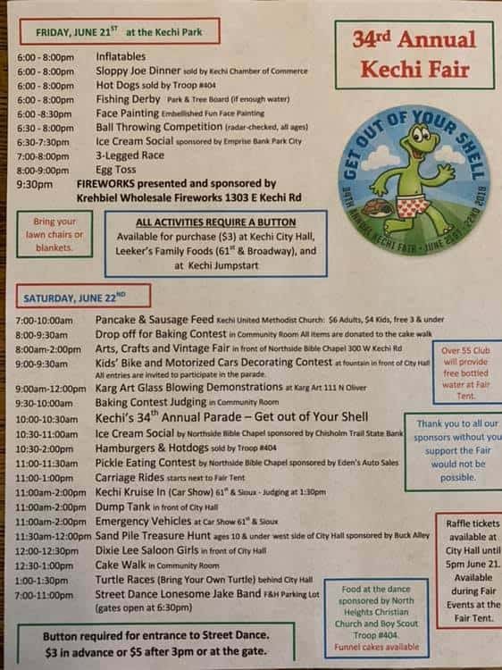 kechi fair 2019 flyer with schedule of events