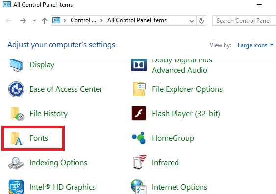 control panel showing fonts
