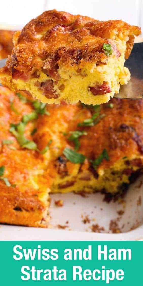 Swiss and Ham Overnight Breakfast Strata is the perfect breakfast recipe for holiday brunch.
