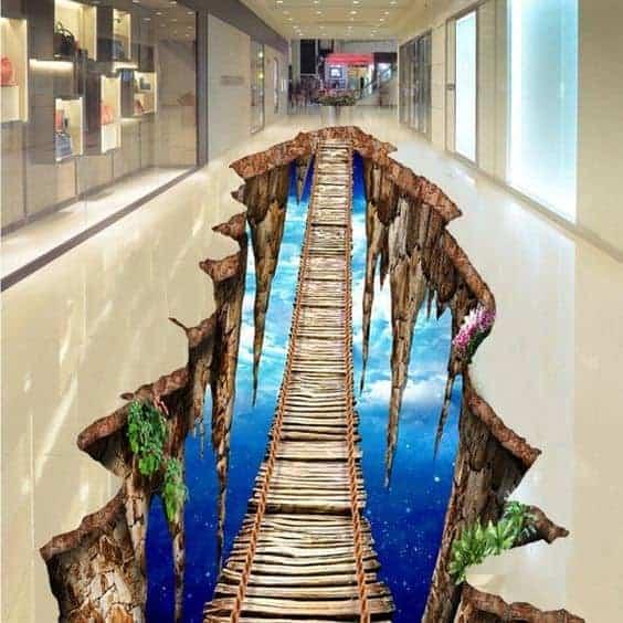 Wooden bridge in the sky 3D wallpaper design for malls