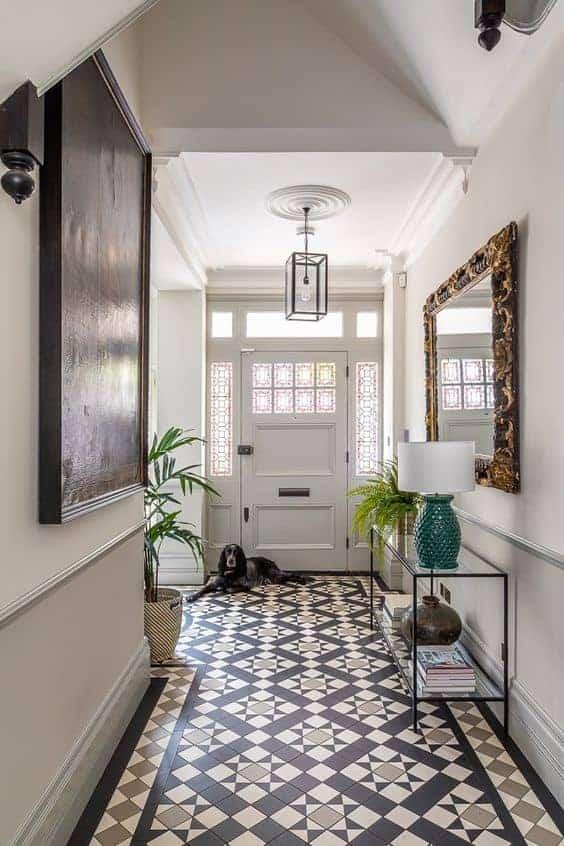 multi-coloured mosaic floor for entrance