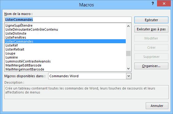 Lister les commandes de Word