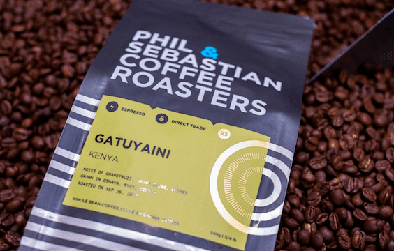 Bag of coffee beans from Phil & Sebastian Coffee Roasters