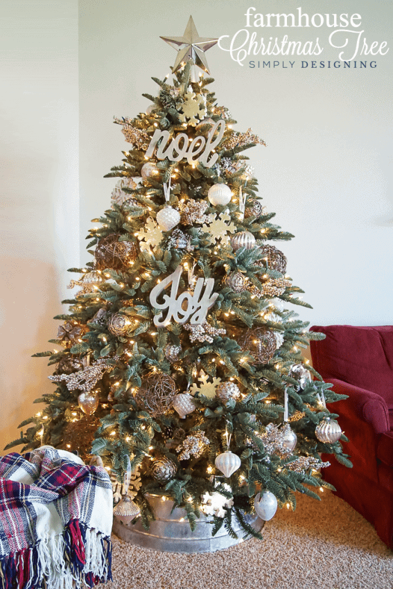 Farmhouse Christmas Tree with silver white and gold ornaments