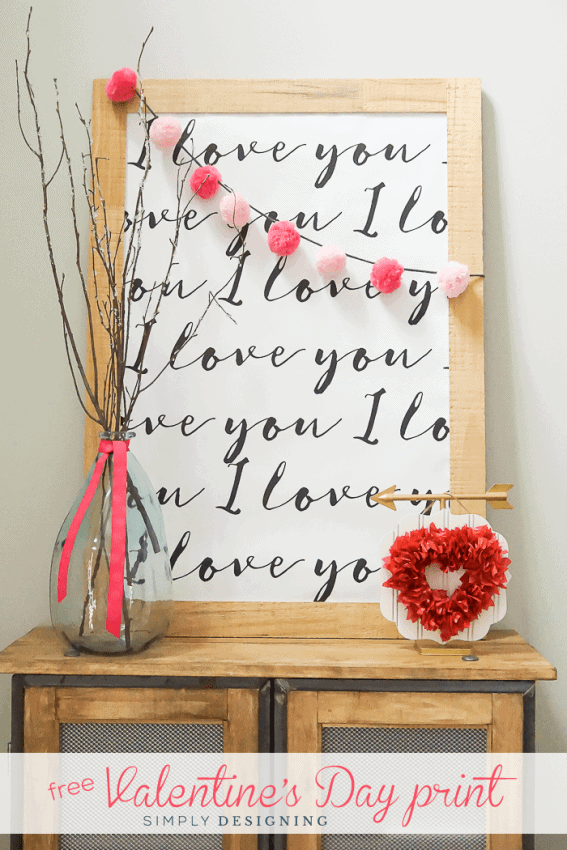 I Love You Printable - perfect print for Valentines Day