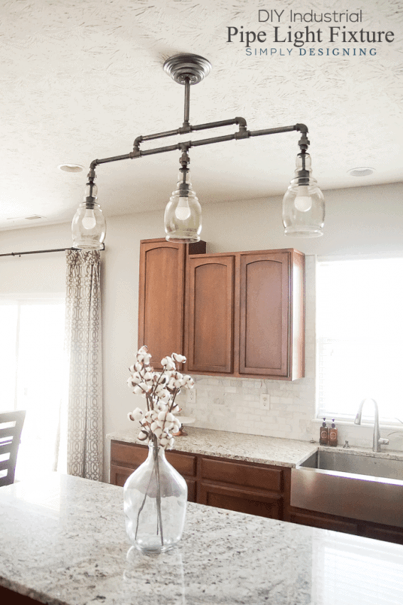 DIY Light Fixture angled view of a beautiful DIY pendant light