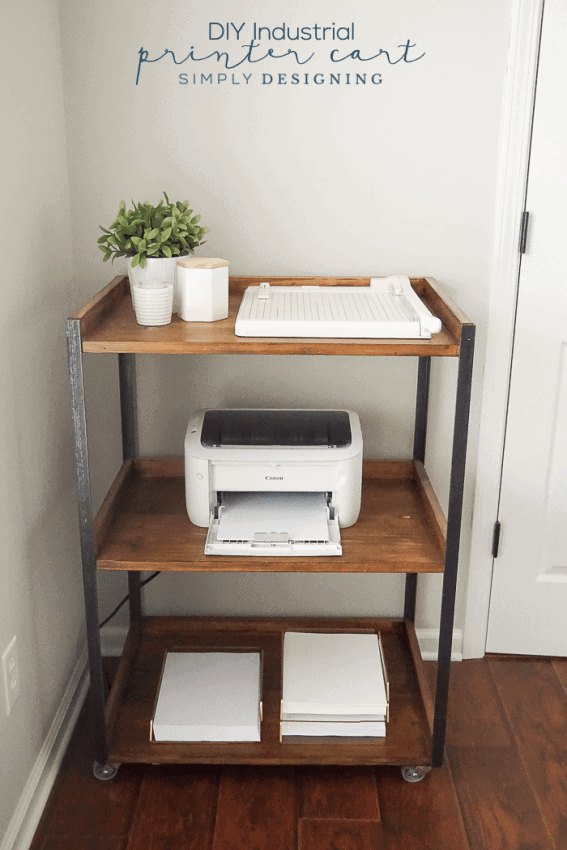 This DIY Industrial Printer Cart is simple to build yourself and is so pretty and functional