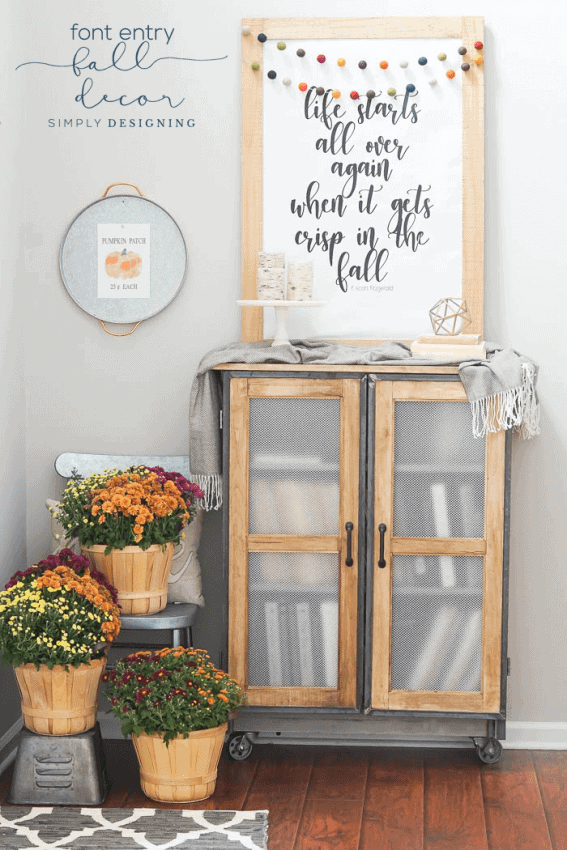 A simple Front Entry Fall Decor with beautiful textures layers colors and free prints