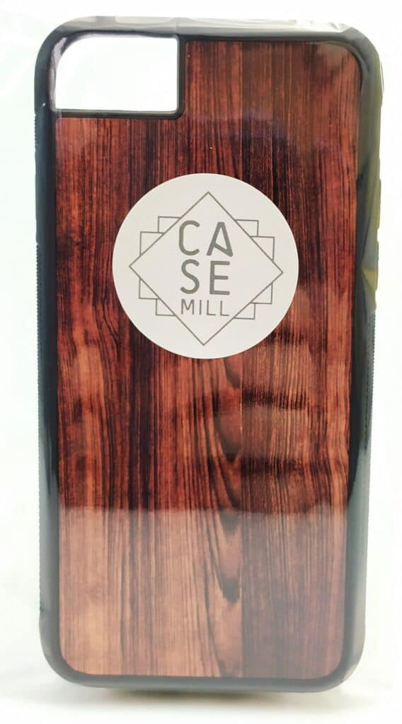 Image shows the Casemill phone case wrapped in plastic.