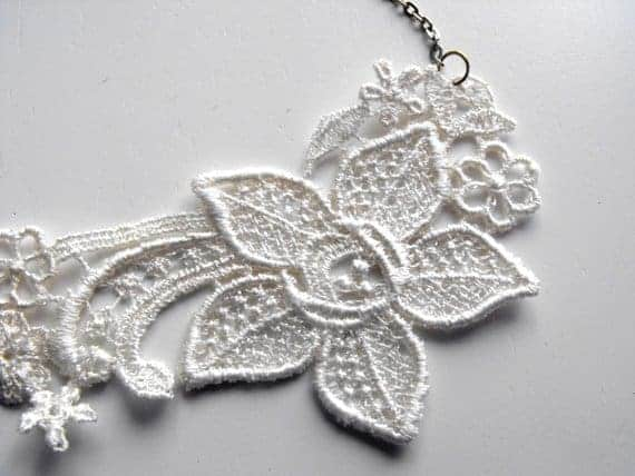 elegant ivory lace necklace on white background for sister maid of honor gift
