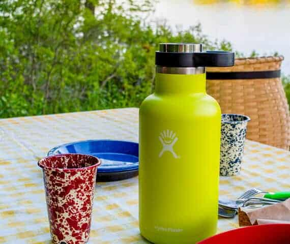 Hydro Flask Growler on a picnic table