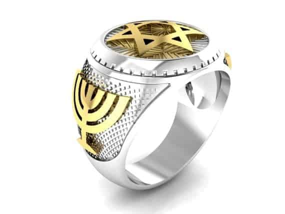 925 Silver and 9K gold Star of david ring