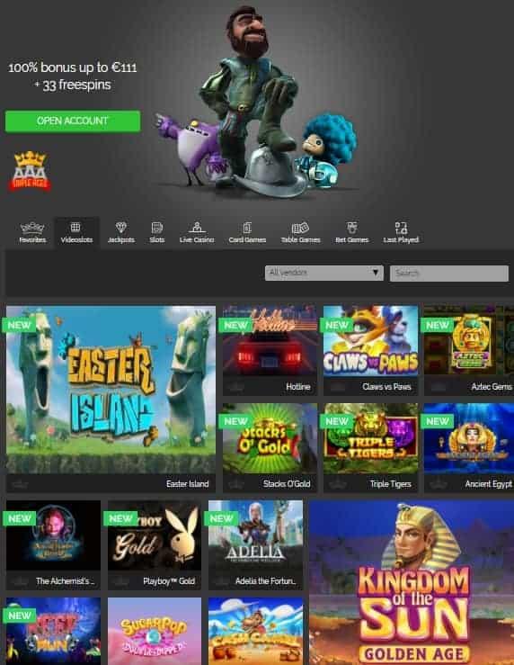 Triple Aces Online Casino free bonus