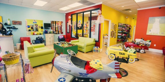 inside a pigtails & crewcuts kid's hair salon franchise