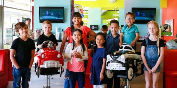 Another group shot of happy kids at pigtails & crewcuts