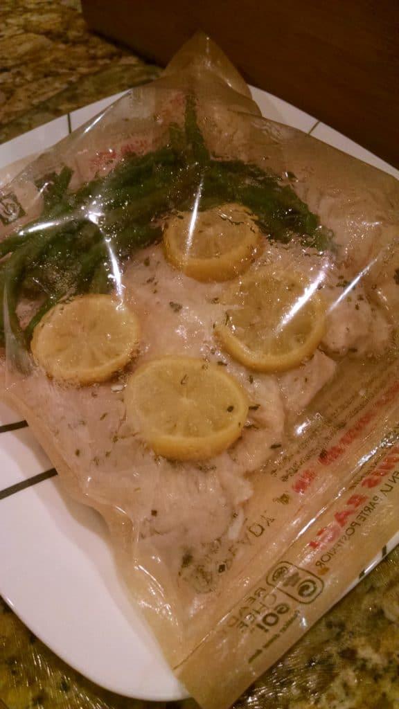 steamed tilapia in bag