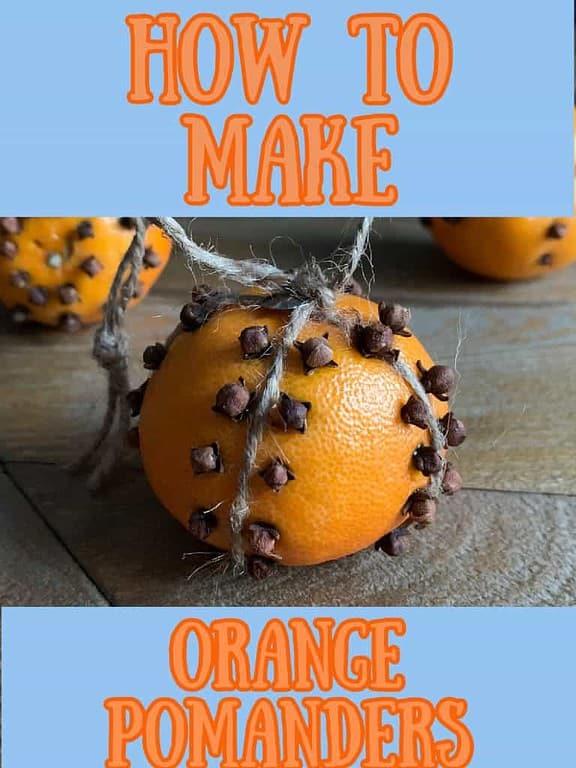 how to make a clove studded orange pomander balls pin image