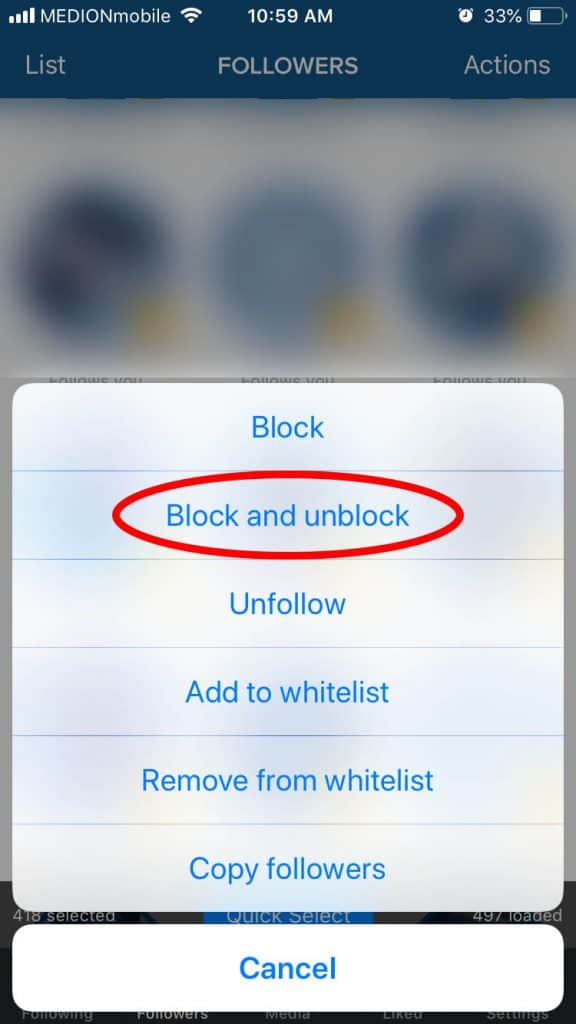 """A screenshot of the app """"Cleaner"""" to get rid of ghost followers on Instagram"""