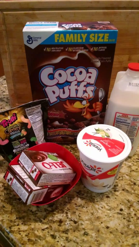 Dirt Cake Ingredients with Cocoa Puffs