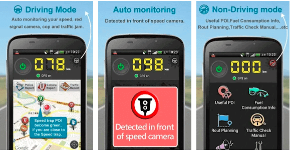 Speed detector app showing auto monitoring