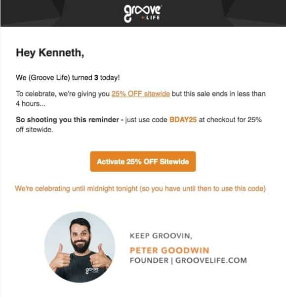 Example of an Anniversary Sale Email from Groove Life