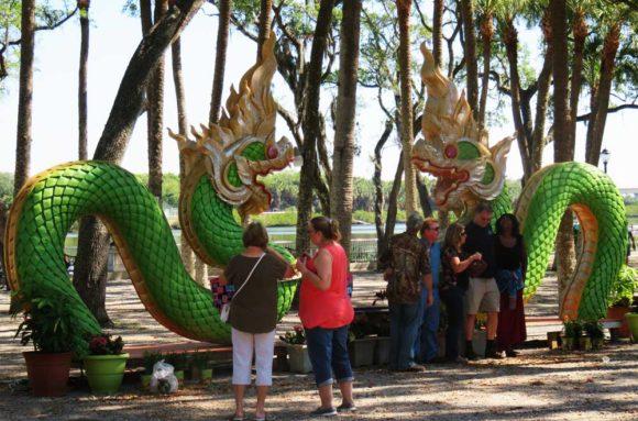 Decorative dragon on the grounds of the Tampa Buddhist Temple, Wat Mongkolratanaram or Wat Tampa.