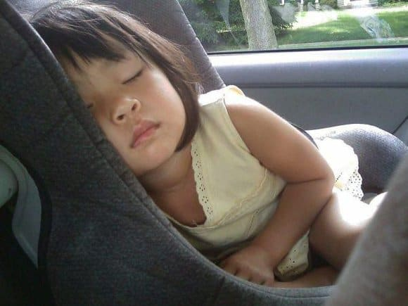 Child napping in a car