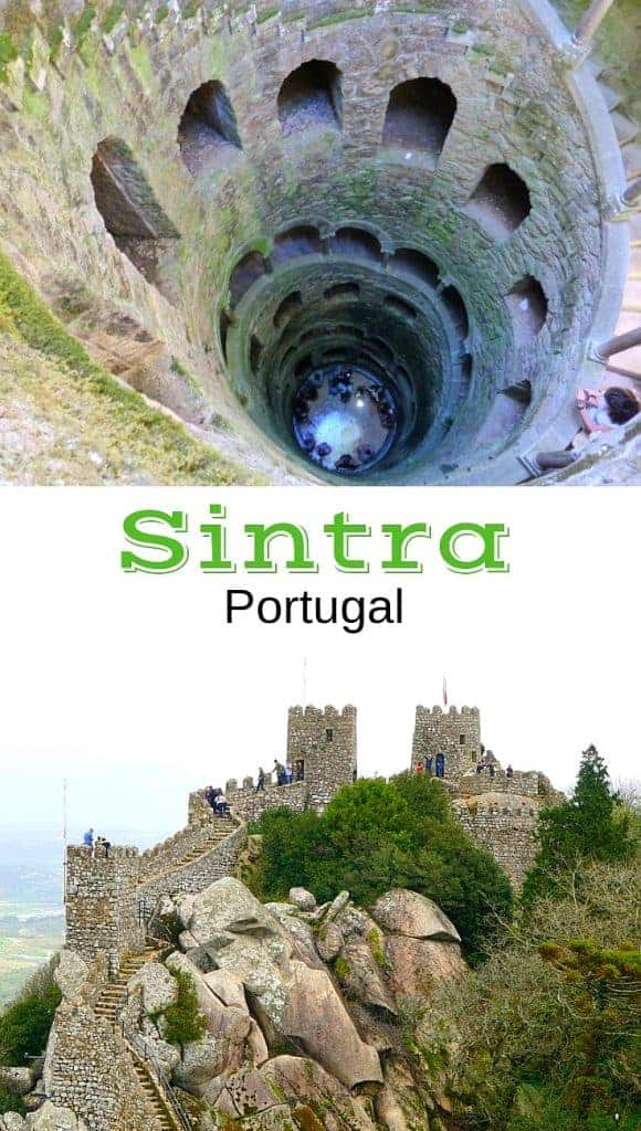 Stone structures, castle and huge underground well in Sintra Portugal