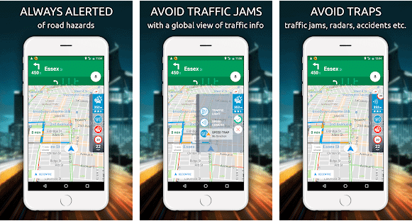 image showing traffic jams and alerts in android app