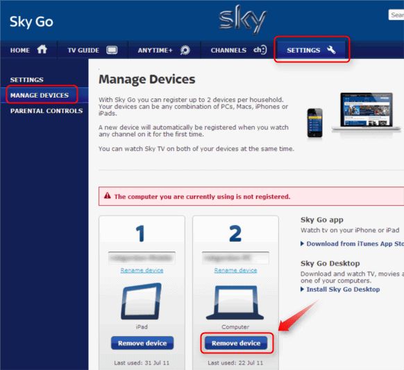 sky go switch devices at will when required