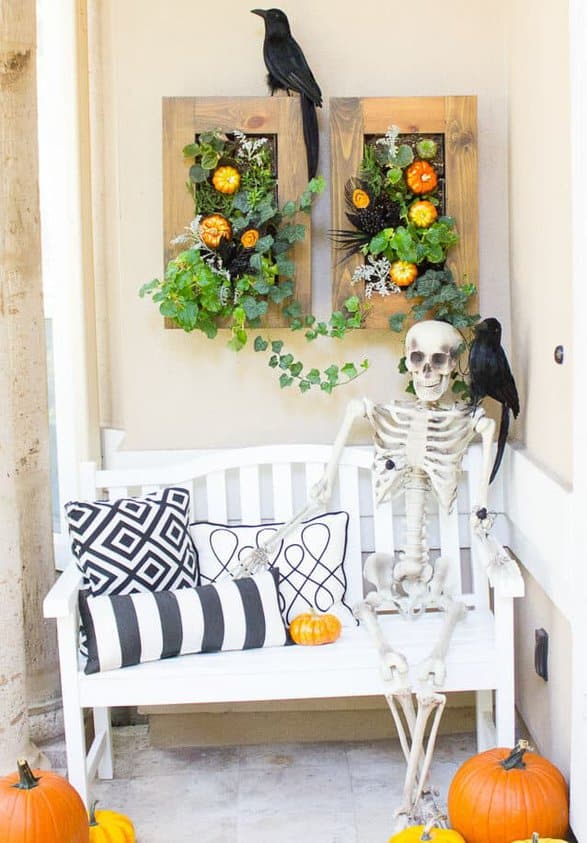 Spooky halloween skeleton front porch