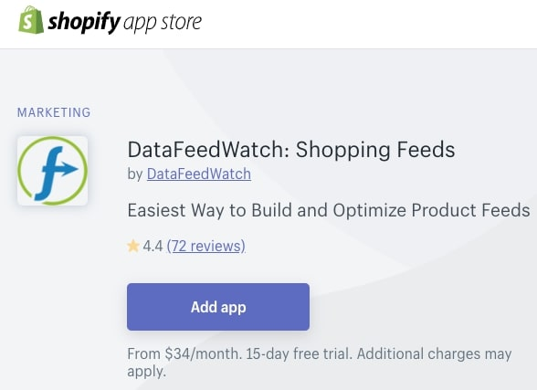 Screenshot of DataFeedWatch Shopify App