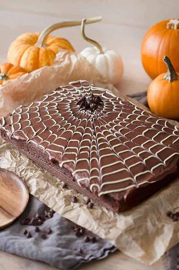 Chocolate fudge buttercream tops a moist chocolate cake.