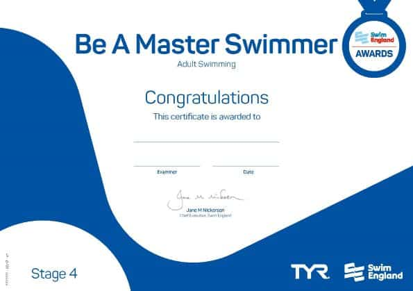 Be a master swimmer adult swimming lessons award