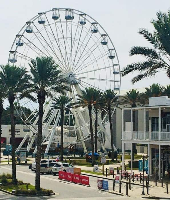The giant ferris wheel  at the wharf in gulf shores.