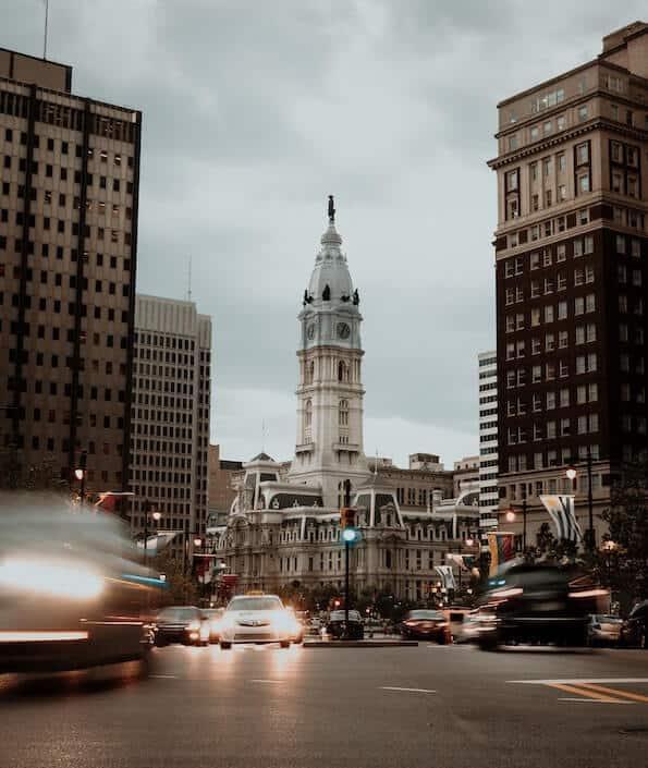 Street View of Philadelphia City Hall on Gloomy Day