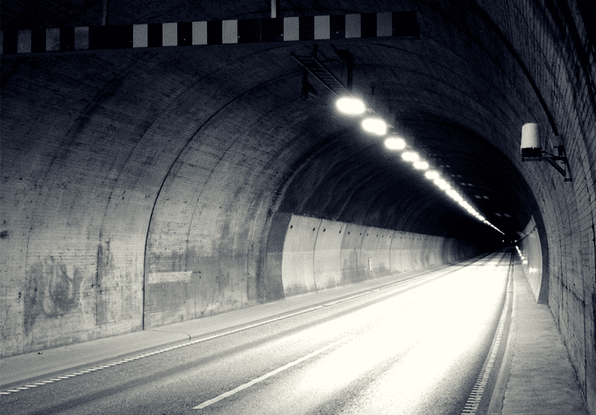 Image of lighting through a tunnel, which could be automatically turned on and off by the lighting control system.
