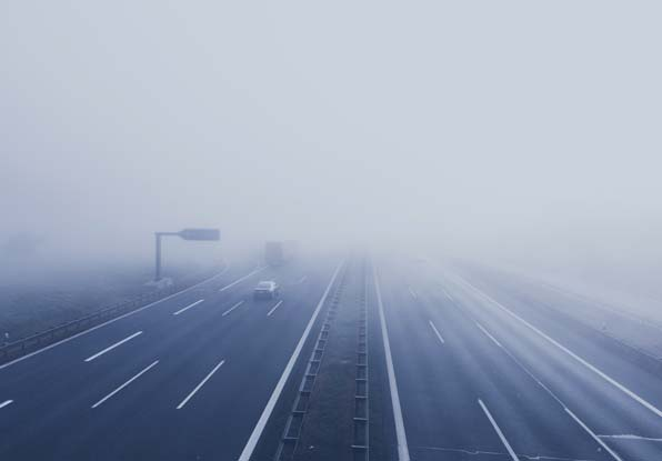 Image of fog on motorway for stopped vehicle detection