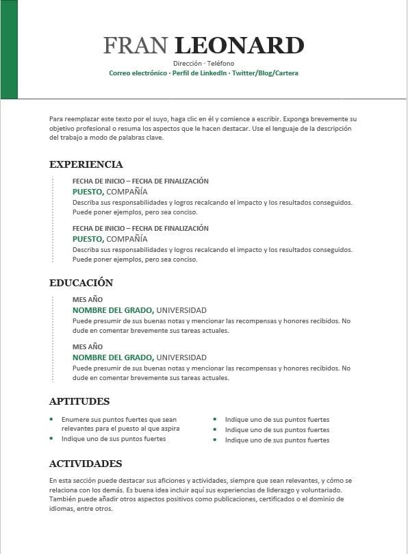 Plantillas de currículum en word iCulum 18