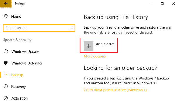 image showing add-drive option