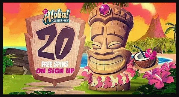 Get 20 free spins on Aloha Cluster Pays!