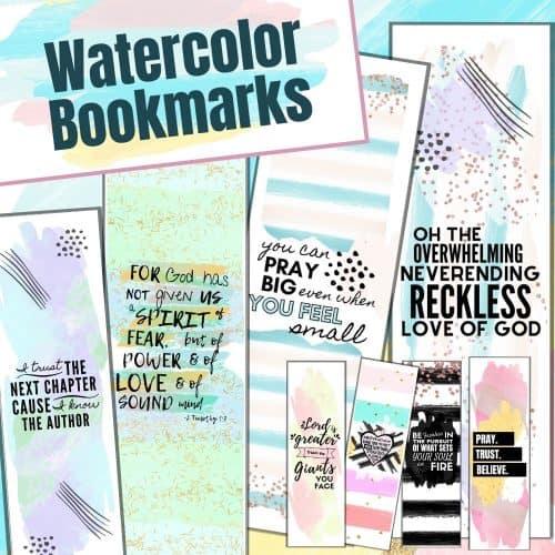 Printable Christian Watercolor Bookmarks
